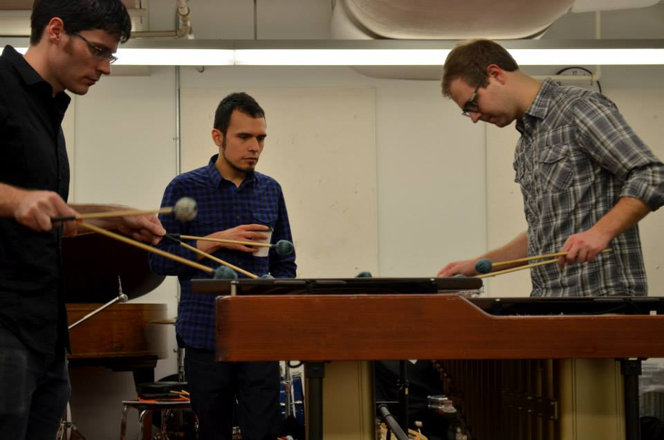 Coaching percussion students at University of Washington.