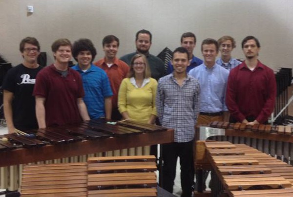 with percussion students at University of South Alabama