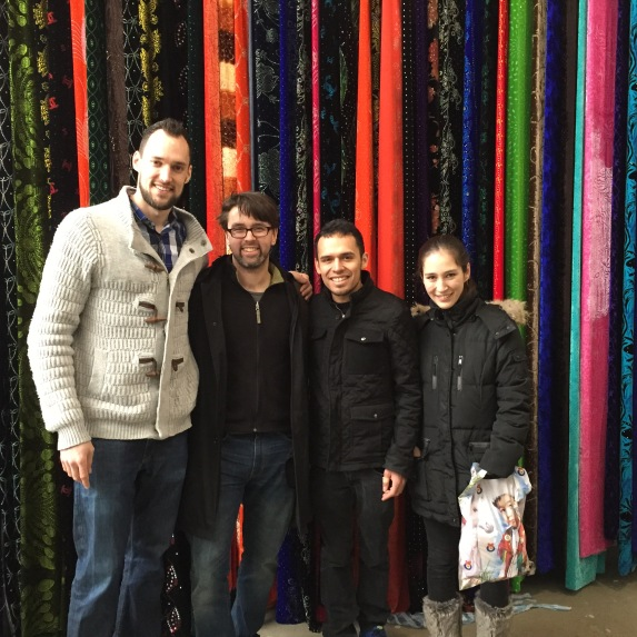 Wall of silk from the bazaar.